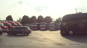 Tour buses just outside Backstage