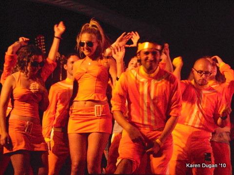Side stage dancers...