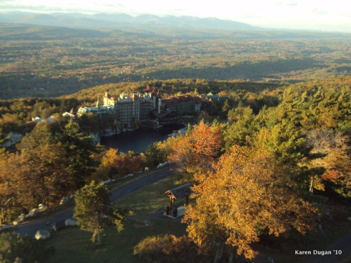 View of Mohonk Mountain House from top of Hike