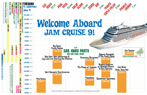 Jam Cruise Day One Schedule!!